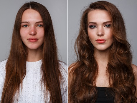 A before and after image of a female with straight hair and then with wavy hair and makeup on